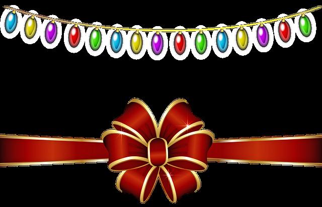 Christmas Lights, Christmas Bow, Christmas, Decoration