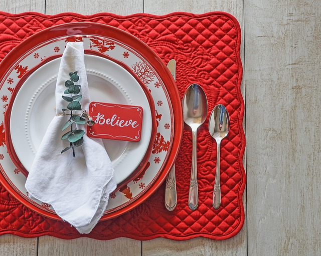 Red, Holidays, Christmas, Table Setting, Festive