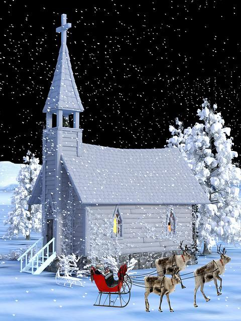 Church, Winter, Christmas, Sledge, Rennes, Gifts