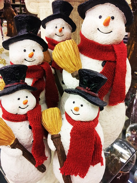 Snowman Figurines, Christmas Jewelry