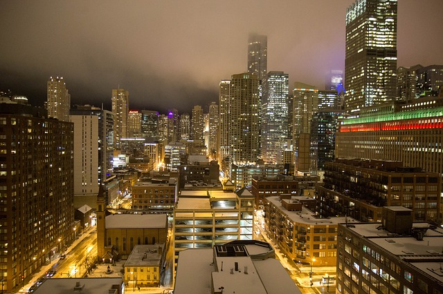 Chicago, Christmas, Christmas Lights, City, Cityscape