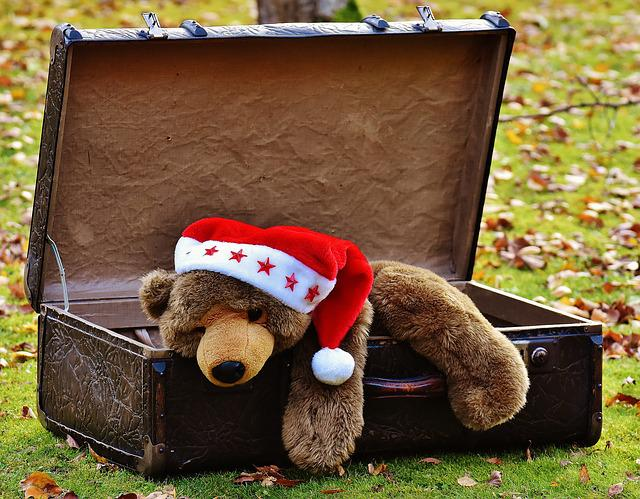 Christmas, Luggage, Antique, Teddy, Soft Toy