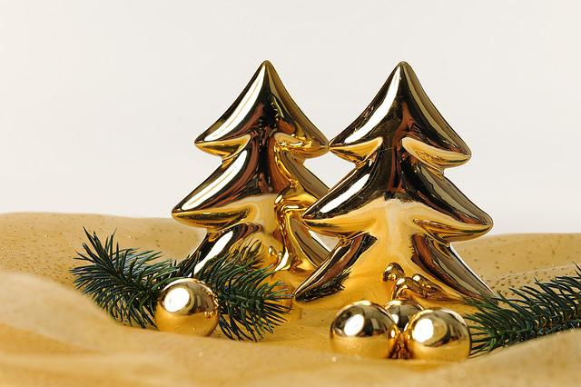 Christmas, Fir Trees, Gold, Christmas Motif
