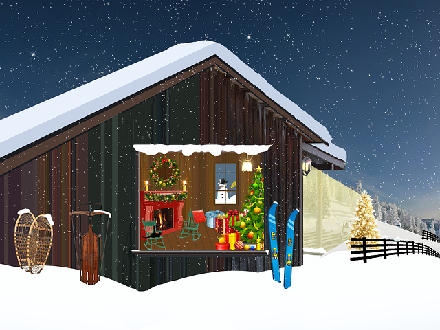 Chalet, Mountain, Christmas, Fir, Lights, Crown