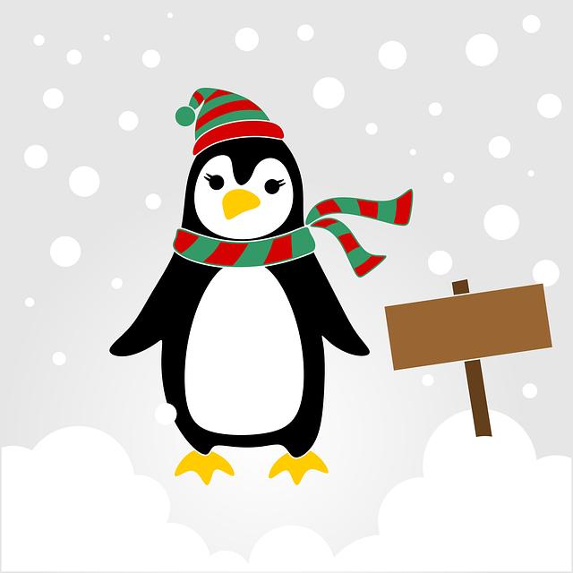 Pinguin, Cute, Fun, Sketch, Christmas, Winter, Snow