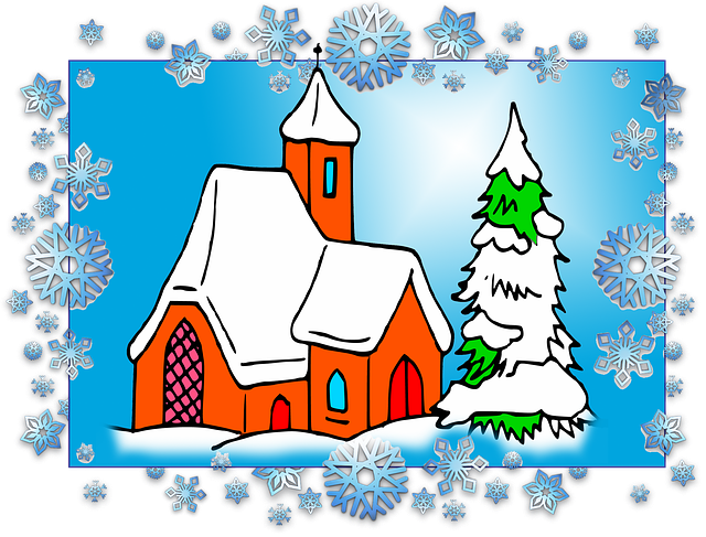 Christmas, Scenario, Frame, Church, Snow, Pinheiro
