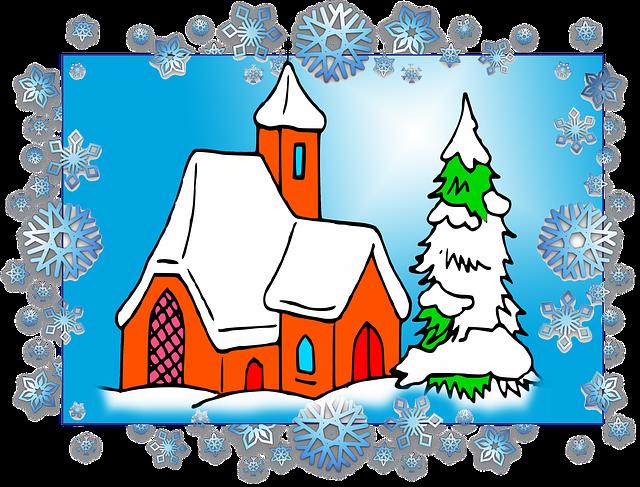 Christmas, Scenario, Frame, Church, Snow, Pinheiro
