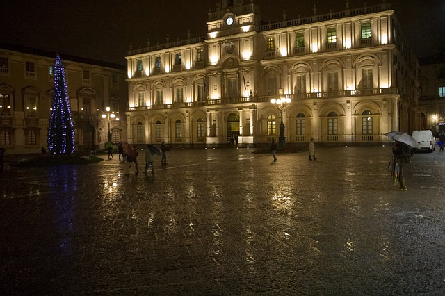 Italy, Sicily, Catania, Christmas, Rain, Night
