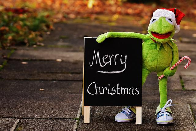 Kermit, Frog, Christmas, Santa Hat, Cute, Funny
