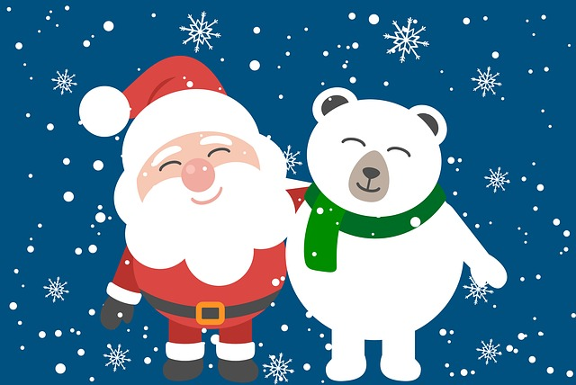 Santa, Polar Bear, Christmas, Snow, Snowflakes, Cute
