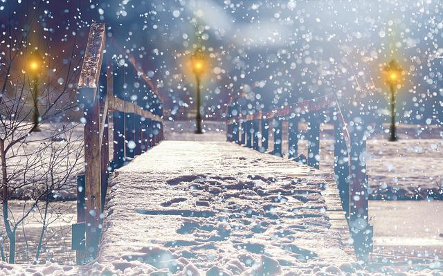 Snow, Snowfall, Lantern, Lights, Light, Christmas, Mood