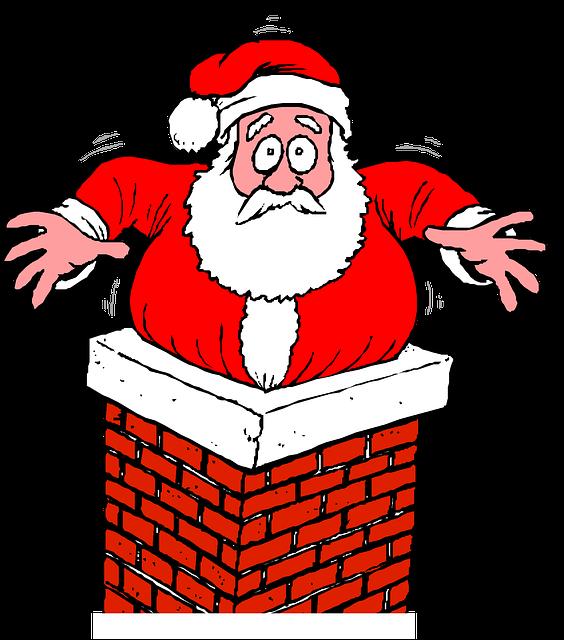 Santa, Chimney, Stuck, Christmas, Holiday, Present