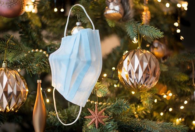 Face Mask, Tree, Ornament, Lights, Christmas, Covid19