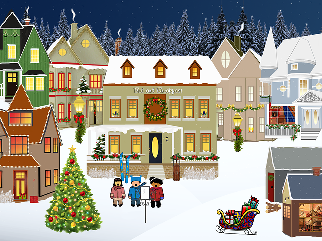 Christmas, Village, Light, Snow, Windows, Tree, Houses