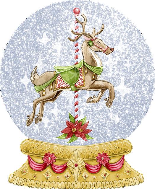 Snow Globe, Carousel, Horse, Christmas, Watercolor