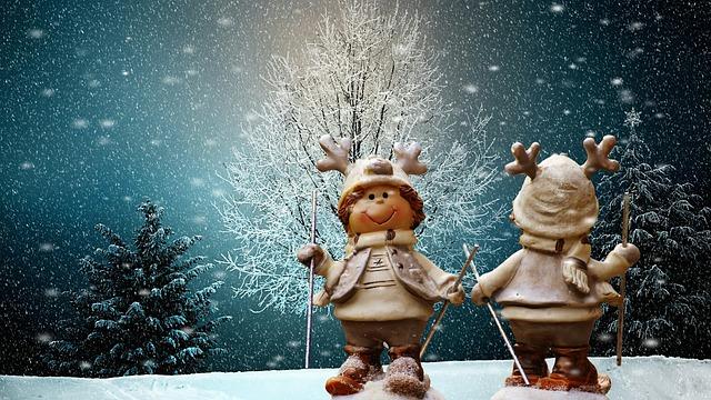 Christmas, Figures, Winter, Snow, Ski, Funny, Animal