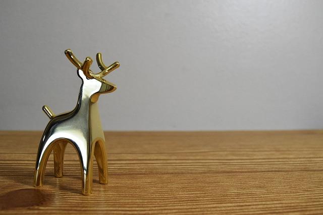 Gold Deer, Wood, Christmas, Deer, Gold, Holiday, New