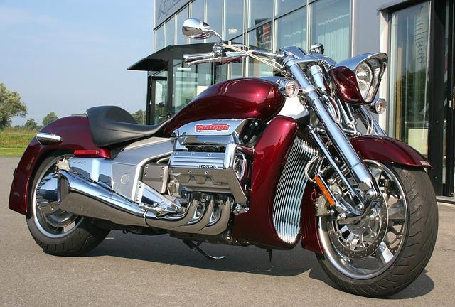 Motorcycle, Bike, Honda, Show Vehicle, Red, Chrome, Sun