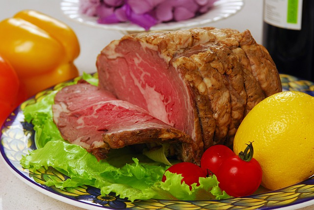 Lemon, Meat, Beef, Chunk, Lump, Roast Beef, Greens