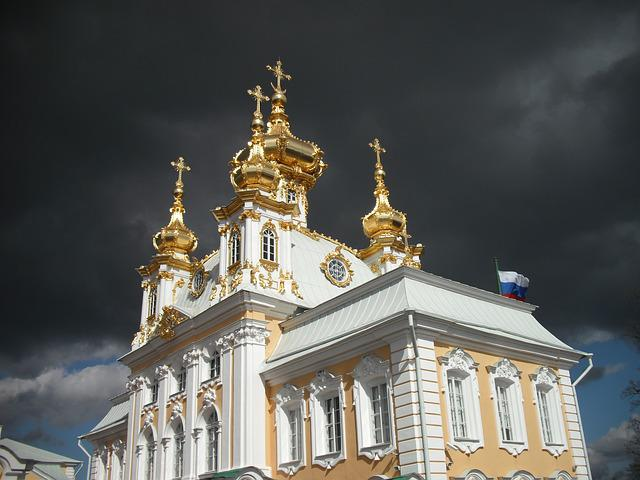 Church, Russia, Saint-petersburg, Cloud, Sunshine