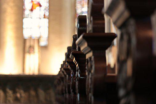 Church Pews, Benches, Altar, Church, Christian, Old