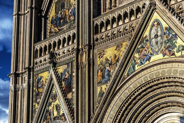 Cathedral, Facade, Italy, Orvieto, Dom, Church, Roman
