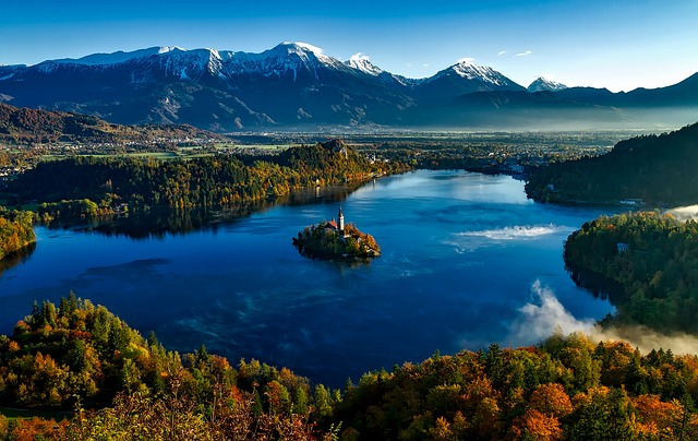 Bled, Island, Church, Picturesque, Slovenia, Fall