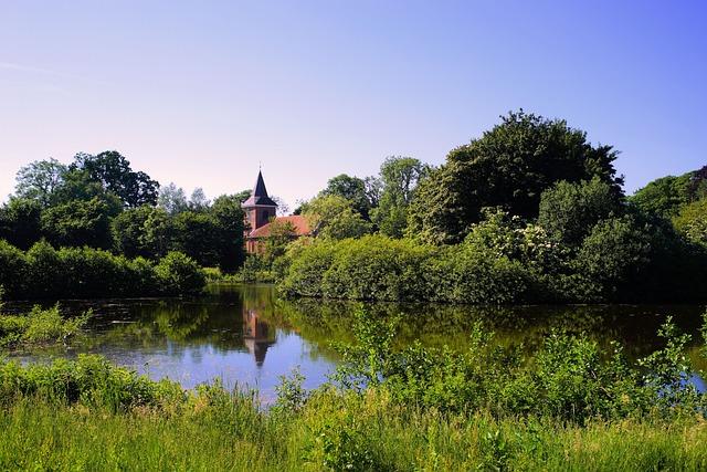 Lake, Waters, Nature, Overgrown, Wild, Church, Romantic