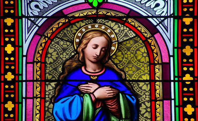 Stained Glass Window, Painting, Church, Saint Mary