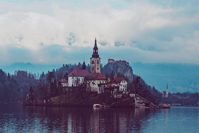 Bled, Slovenia, Europe, Church, Body Of Water, Travel