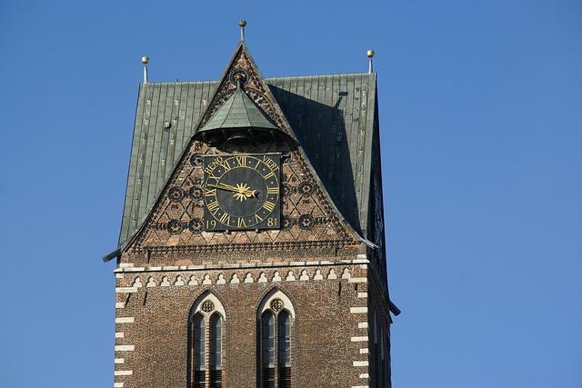 Marienkirche, Wismar, Tower, Clock, St Mary, Church