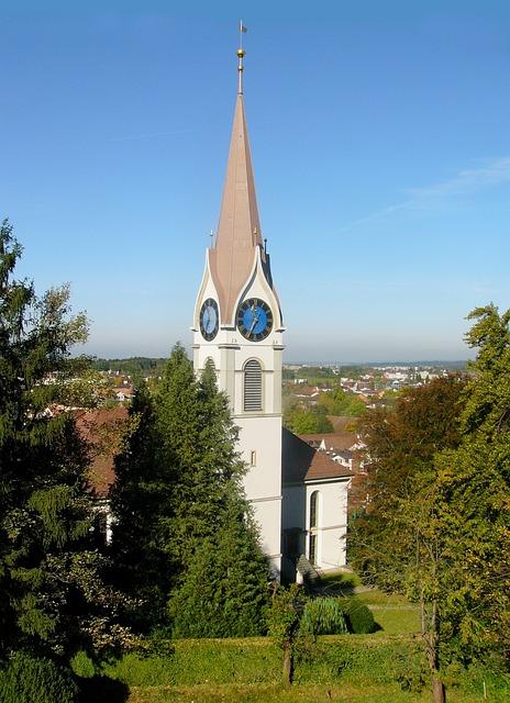 Uster, Switzerland, Church, Scenery, Landscape, Trees