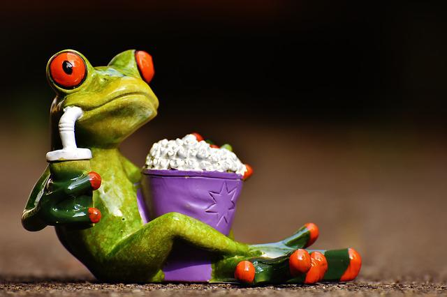 Frog, Cinema, Popcorn, Funny, Cute, Sweet, Fig, Snack