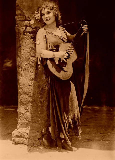 Guitar, Mary Pickford, Music, Silent Movies, Cinema