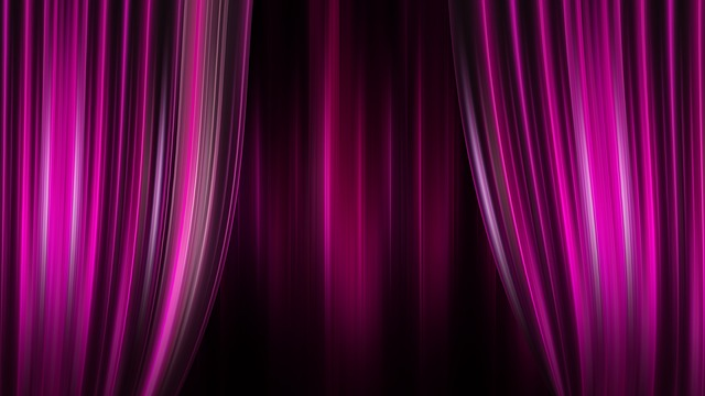 Theater, Cinema, Curtain, Stripes, Pink Purple