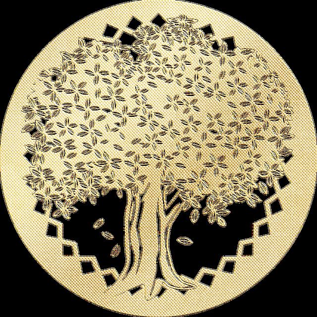 Gold Foil Tree Of Life, Circle Around Tree, Celtic Tree