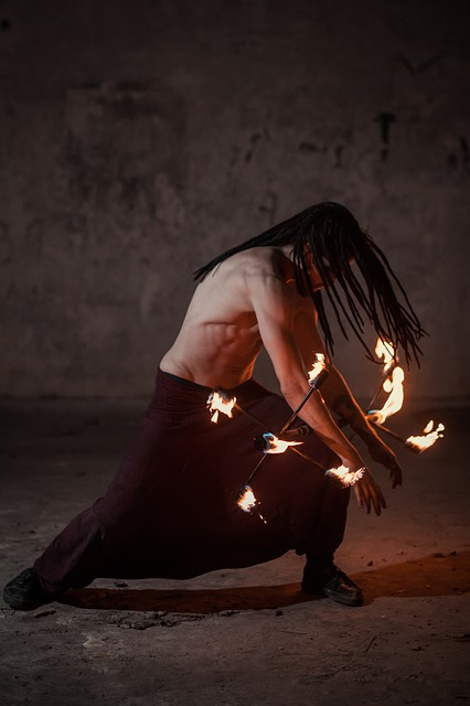 Fire, Mouth, Man, Circus, Performer, Background, Night