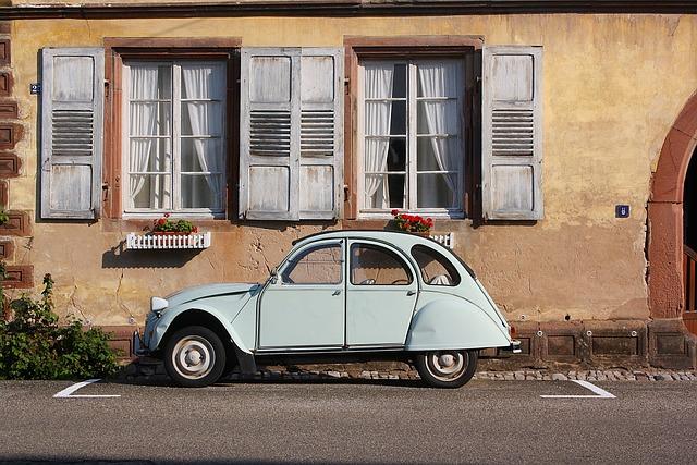 Auto, Oldtimer, Citroen Duck, Window, Building