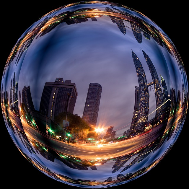 Photo Effect, City, Skyscrapers, Lighting, Ball, About
