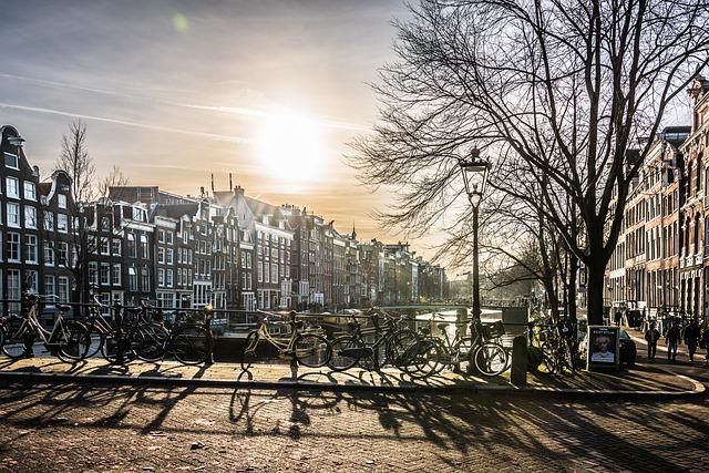 Amsterdam, City, Bridge, River, Sun, Building