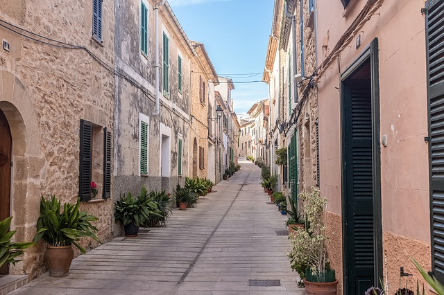 Mallorca, Alcudia, Architecture, Road, Alley, City
