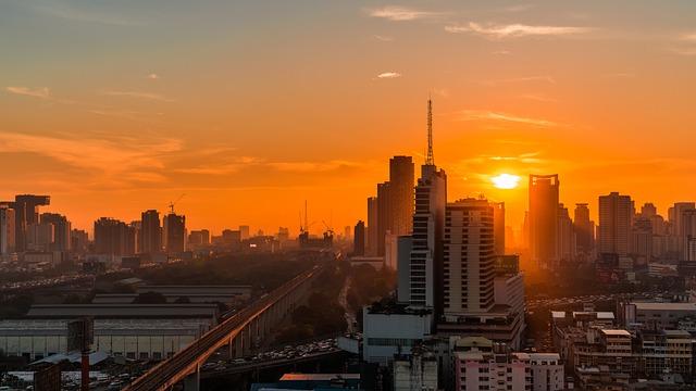 City, Bangkok, Sunrise, Baiyoke, Cityscape