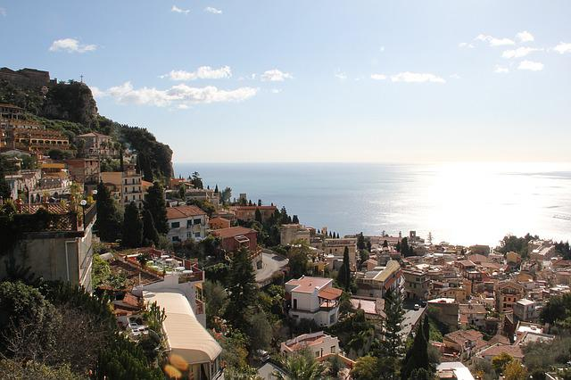 City, Taormina, Sicily, View, Italy, Beach