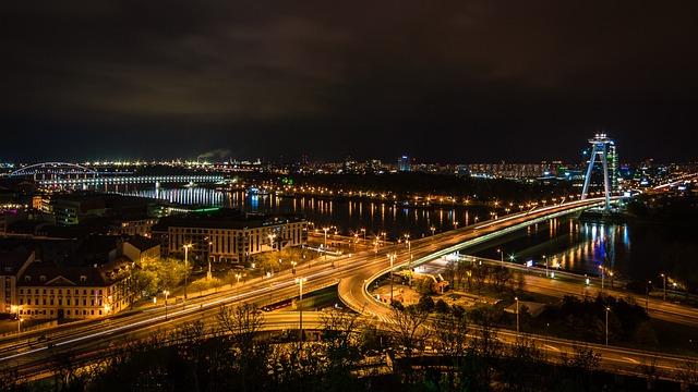 Bratislava, City, Slovakia, Bridge, Street, Lights