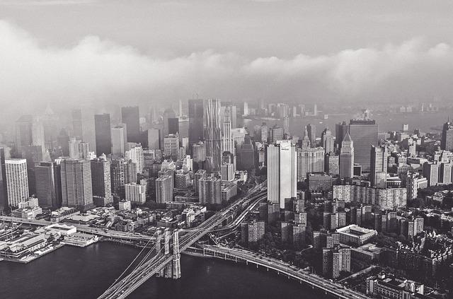 Bridge, Buildings, City, Cityscape, Hazy, Skyline