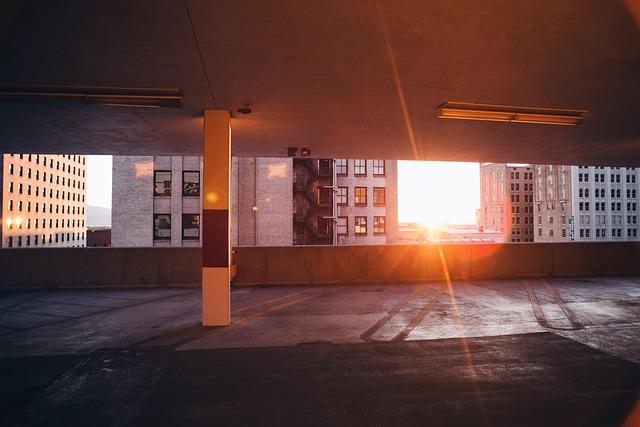 Architecture, Buildings, Car Lot, Ceiling, City