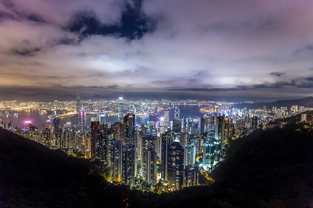 Hong Kong, City, Night, China, Asia, Urban, Lights