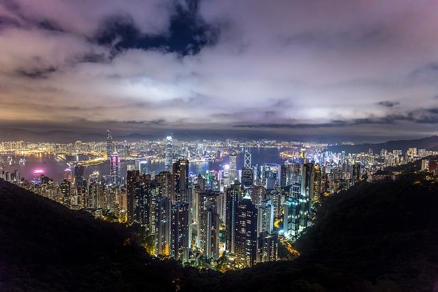 Hong Kong, City, Night, China, Asia, Urban, Lights