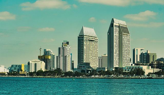 San Diego, City, Coastline, Skyline, Skyscraper