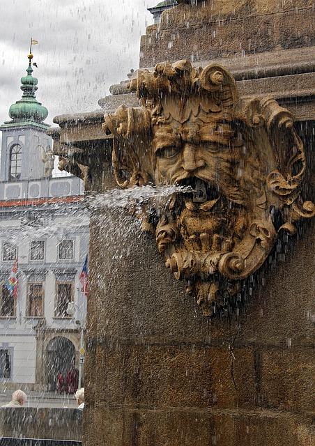 Fountain, Town Hall, City, Czech Budejovice